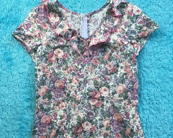 70's vintage extra small/small cutesy handmade floral dress zip up