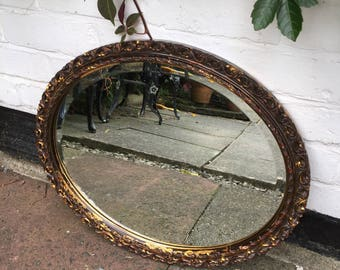 Coloured Mirror, Vintage Gold Ornate Mirror, Portrait Or Landscape Oval Mirror.