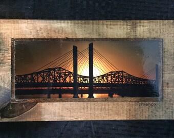 Abraham Lincoln Bridge at Sunset Wooden Art