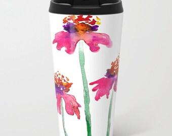 Travel Mug - Ceramic or Metal Coffee Cup - Echinacea Watercolor Painting - Artistic Hot Cold 12 or 15oz Beverage Mug