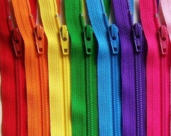 Ykk Zipper Rainbow Sampler Pack 10 zippers- available in 3,4,5,6,7,8,9,10,12,14,16,18,20 and 22 inches