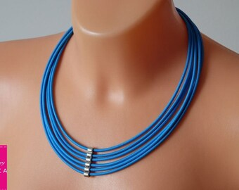 Tribal necklace Layered necklace Fiber necklace Multi strand jewelry Blue cords necklace Bib blue necklace Handmade fabric necklace Summer