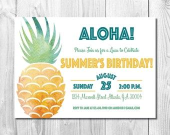 Pineapple Luau Invitation >> Birthday Luau Invitation << Pineapple Birthday Invite >> Summer Birthday Party >> Custom Printable Digital File