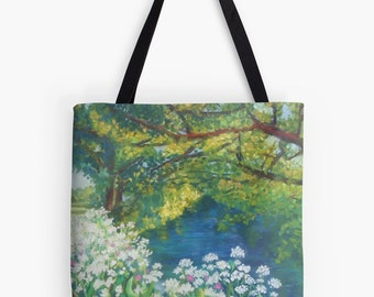 """Summer River Landscape Scenery Tote Bag - Artist's Pastel Painting Design. Two Sizes Available Medium 16"""" and Large 18"""""""