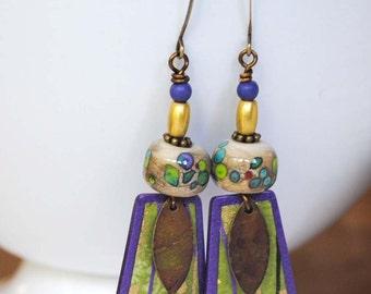 Purple Polymer Clay Earrings, Spoted Lampwork Earrings, Asian Inspired Jewelry, Unique Artisan Earrings,