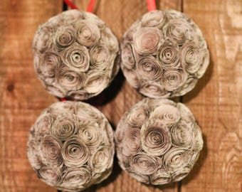 Set of 4 Book Christmas Ornaments // Paper Rose Ornaments // Book Page Hand Rolled Rose Ornaments // Tree Ornament // Handmade Ornament Gift