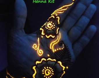 Glow in the Dark Henna Kit -  Mehndi, bridal, gift for her, rave, teens, girlfriend,birthday, party,