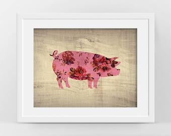 Pig Print, Pink Pig Art, Farm Animal Poster, Domestic Pig Decor, Modern Rustic Decor, Pig Image, Pig Silhouette, Rustic Cabin Decor Farm Art