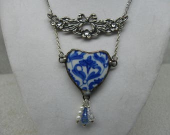 Broken China Heart Necklace in Blue and White