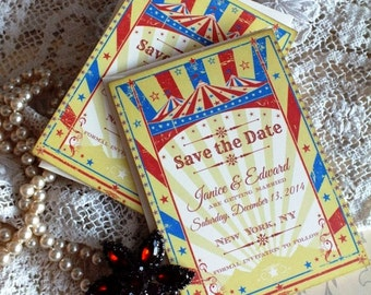 Vintage Circus Save the Date Wedding Cards Handmade by avintageobsession on etsy