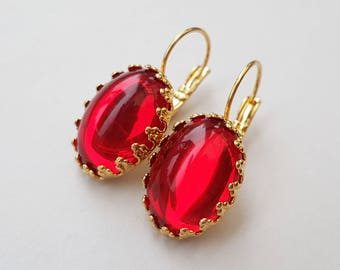 Ruby Red Gold Drop Earrings, Red Earrings, Vintage Czech Glass Cabochons, July Birthstone, Sparkling Mirrored Stones
