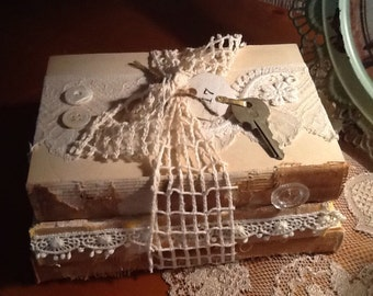 Bare book bundle - altered books -shabby chic - wedding - lace and buttons - stacked books