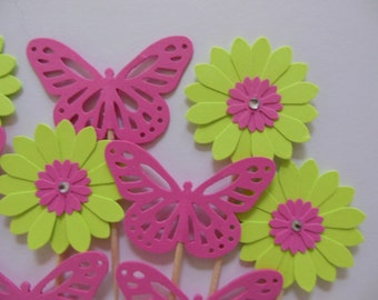Flower Cupcake Toppers - Bright Pink Butterflies and Lime Green Daisies - Girl Birthday Parties - Girl Baby Showers - Set of 12