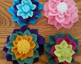 Wool Felt Flower Brooches, Flower Clip, Gift, Unique Flower, Felted Wool Flowers, Handcut