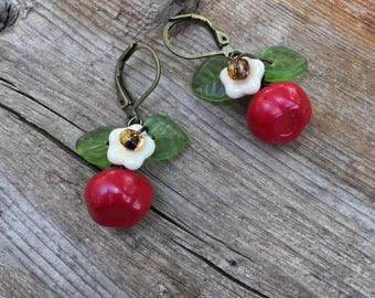 Apple Earrings, apple jewelry, czech red apple earrings, red earrings fruit jewelry Teacher's Gift