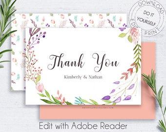 Boho Thank You Card, Bohemian Wedding, Printable, Invitation Template, Floral Wreath, Watercolor, Handmade, PDF, Notes