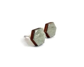 Hexagon stud earrings, hexagon earrings, wood stud earrings, handpainted earring, geometric stud earring, wood jewelry, silver hexagon studs