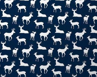 Premier Navy Blue Curtains. Deer Silhouette. 25 or 50 Widths. 63, 84, 96, 108, 120 Lengths. Deer Antlers Nursery Window Treatments.