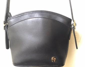 Black Leather Vintage Handbag by Etienne Aigner