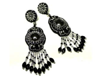 Earrings black and silver, bead embroidered earrings, unique jewel
