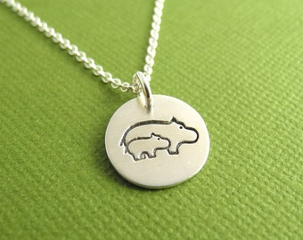 Tiny Mother and Baby Hippo Necklace, New Mom Necklace, Fine Silver, Sterling Silver Chain, Made To Order