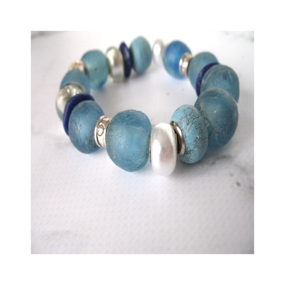Chunky Blue African Bead Bracelet in an Eclectic Mix of Organic Recycled Fair Trade Glass Beads and Silver Accents