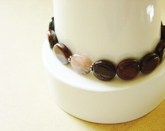 Red Tigers Eye Bracelet / Stone Bracelet / Red Tigers Eye / Red Tiger Eye / Semiprecious / Semi Precious / Coin Beads / Stacking Bracelet