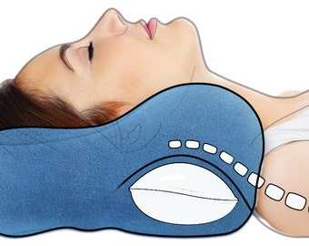 Award-Winning Chiropractic Neck Pillow, Blue (S,M,L) - Neck Support, Neck Pain Relief, Cervical Pillow, Neck Traction