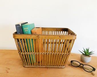 Vintage Bamboo Rattan Storage Box - Mid Century Modern - Boho - Magazine Holder - Office Organizer - Denmark Modern - Minimalist
