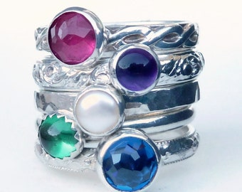Mothers Ring -  5 Birthstone Stacking Rings -Family Ring - Grandmothers - Stackable Rings - Birthstone Rings -Cabochons - Sterling Silver