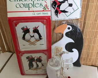 """Vintage 80's  """"PENGUIN CHRISTMAS ITEMS"""" - 4 Items - Ornament, Box Tags, Gift Trims & Note Pad"""