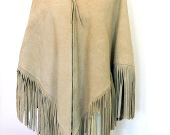 Vintage 1970s Suede Fringe Poncho - Light Tan