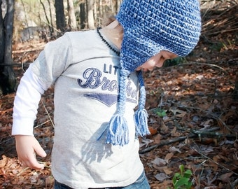 Crochet Hat with Earflaps, Crochet Hat with Pompon, Blue Crochet Baby Hat, Blue Hat, Hat for Baby Boy, Winter Hat, Photo Prop