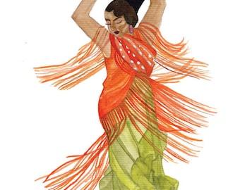Orange and Green Flamenco Dancer Print
