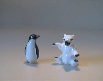 Two vintage 1960's miniature bone china polar bear and penguin friends