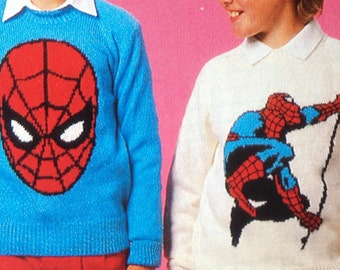 Vintage Pattern Marvel Spiderman Jumpers adults and childrens Knitting Patterns PDF Download