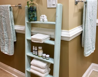 4ft Decorative Blanket Ladder, Woodland Baby Quilt Ladder, Bathroom Towel Rack, Blanket Storage, Rustic Wood Shelf