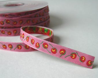 Ribbon trim, 10 mm, cherries on pink background, the meter.