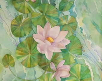 "Lotus scarf. Hand painted silk scarf. Green, white, rose. Flowers scarf. Big floral scarf.  "" Lotuses"""
