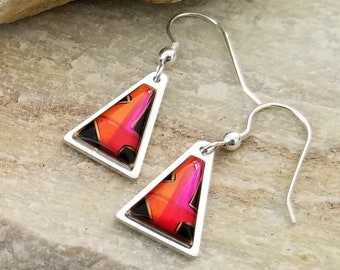 Abstract Triangle Earrings in Pink, Orange, & Black, Modern Metal Jewelry, Presents For Her, Mother's Day Gift - Maui Earrings by Jon Allen