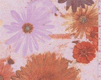 Orchid Pink/Orange Floral Bloom Chiffon, Fabric By The Yard