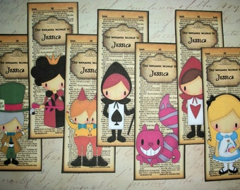 AliCE in WoNDERLAND - BOOKMARKS - Party Favors - Set of 7 Personalized Laminated Bookmarks - Stocking Stuffers - AL 4497754