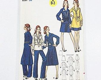 70s Tunic Dress Pattern | Butterick 5928 Misses Dress, Tunic, Skirt, & Pants Pattern | 70s Sewing Pattern