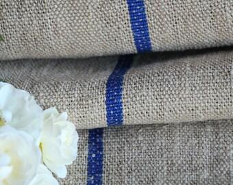 R 670: ancien chanvre bleu ROYAL d'ameublement 3.93yards benchcushion handloomed 캔버스 자루 Beachhouse aspect lin, mariage, printemps, vintage, décoration