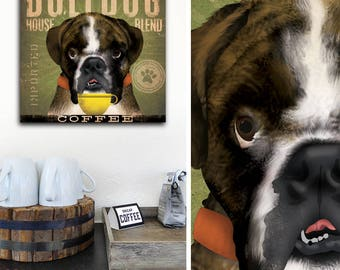 English Bulldog dog brindle Coffee Company graphic art on gallery wrapped canvas by fowler
