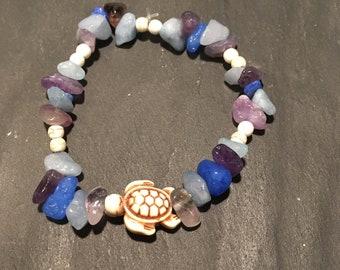 Purple and blue turtle bracelet