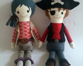 Pirate, soft doll, PDF Sewing Pattern Direct Download