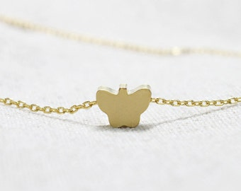 Simple gold Butterfly Necklace - S2346-2