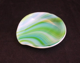 Blue and Green Spoon Rest, Round Fused Glass Spoon Rest, Spoon Holder, Spoon Rest, Spoonrest