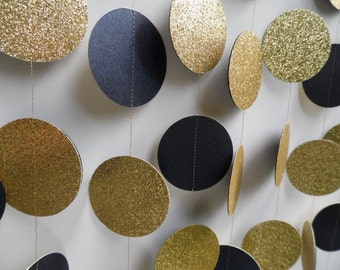 Gold Glitter and Navy Blue Circle Garland, Party Decoration, Navy and Gold Decor, Photo Prop, Paper Garland